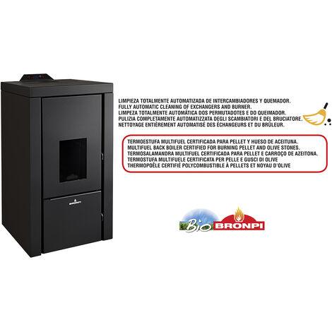 Termoestufa Multifuel Pellet-Hueso De Aceituna 21Kw + Kit De Canalizacion