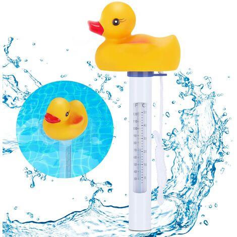 """main image of """"Termómetro de piscina LITZEE, termómetro de agua flotante en forma de pato resistente a los fragmentos con cuerda para piscinas de jacuzzi interiores y exteriores"""""""