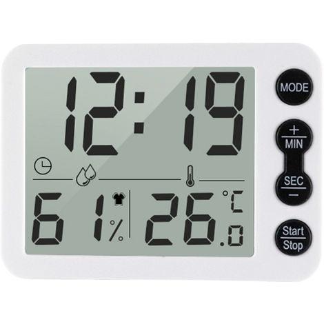 Termometro e higrometro digital para interiores, con reloj, ¡æ / ¨H