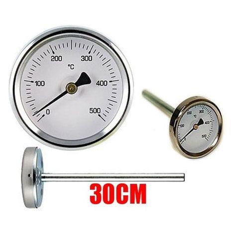 TERMOMETRO FORNI A LEGNA - BARBECUE E FUMI 0 - 500GR con sonda rigida da 30 cm - TEMPERATURA