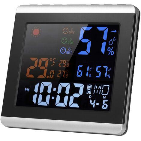 Termometro Higrometro Reloj, Alarma, Pantalla de pronostico del tiempo del calendario