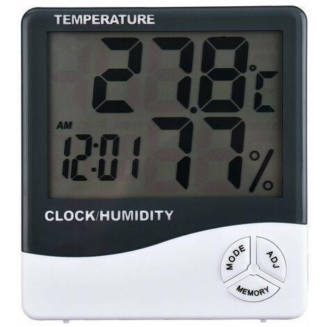 Termometro Igrometro Orologio Digitale Data Con Display Lcd 12/24 Ore Allarme