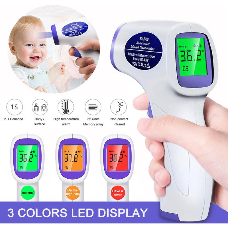 Happyshopping - Termometro sin contacto portatil para el cuerpo humano, la pantalla LCD para una segunda lectura precisa, la electronica de