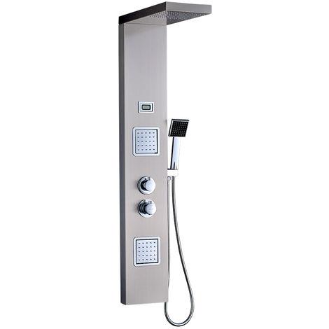 Termostático Columna de Ducha Hidro-masaje, Panel de Ducha con Pantalla LCD, Lujo Acero Inoxidable Cepillado