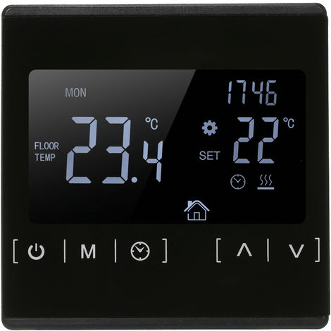 Termostato controlador de temperatura AC85-240V, sistema de calefaccion de piso electrico, negro