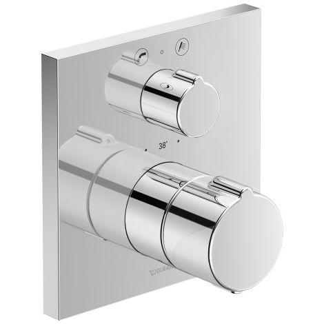 Termostato de baño empotrado Duravit C.1, roseta cuadrada, con válvula de cierre y conmutación - C15200013010