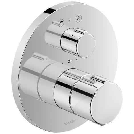 Termostato de baño empotrado Duravit C.1, roseta redonda, con válvula de cierre y conmutación, combinación de fusibles - C15200018010