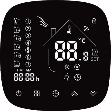 Termostato de calentamiento de agua con pantalla tactil y pantalla LCD programable semanal
