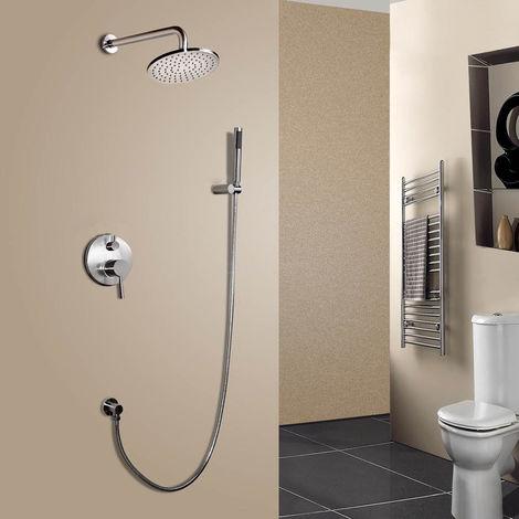 Termostato de ducha de lluvia redondo moderno de doble función con ducha de mano de níquel cepillado Válvula de ducha estándar montaje en pared 300 mm
