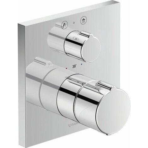 Termostato de ducha empotrado Duravit C.1, roseta cuadrada, 2 consumidores, con válvula de cierre y de conmutación - C14200013010