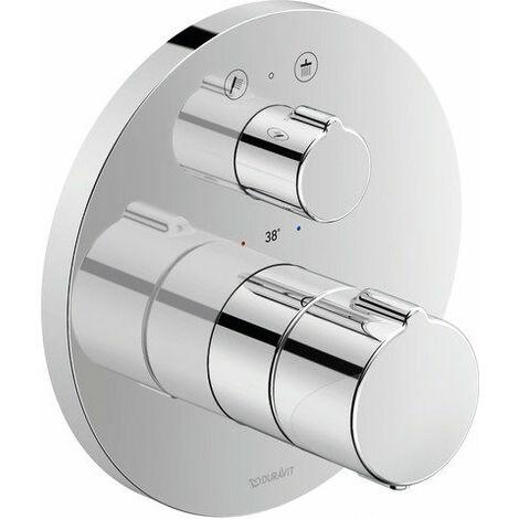 Termostato de ducha empotrado Duravit C.1, roseta redonda, 2 consumidores, válvula de cierre y válvula de conmutación - C14200014010
