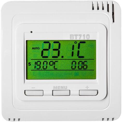 Termostato inalámbrico BPT710 - termostato para calefacción, termostato digital para control de temperatura, regulador de temperatura automática - blanco