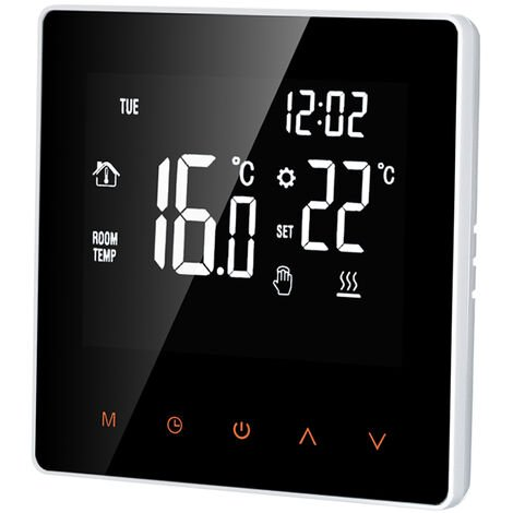 Termostato inteligente, controlador de temperatura digital, pantalla tactil LCD, 16A