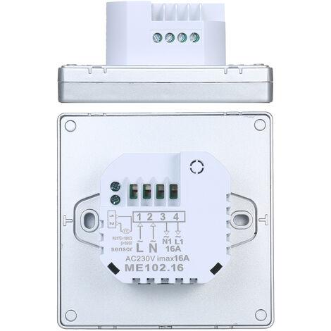Termostato inteligente LCD de pantalla tactil programable semanal del termostato con la temperatura WIFI Calefaccion electrica 16A Controlador Digital para Office Home School Hotel Silver, Silver