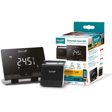 Garza Smarthome - Termostato wifi inteligente para caldera y calefacción, táctil y programable, Control por Voz y App, Alexa, iOS, Google, Android, Negro