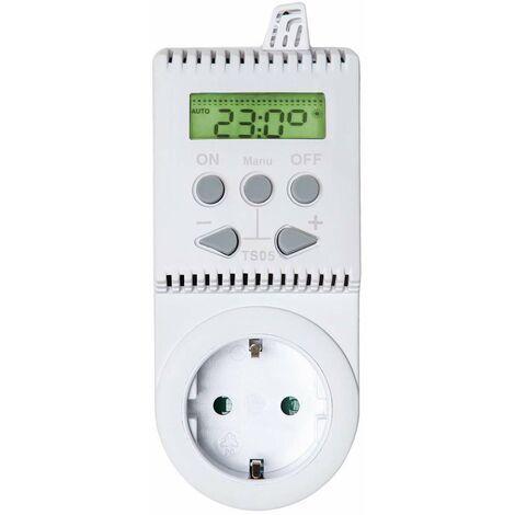 Termostato para enchufe TS05 - termostato para calefacción, termostato digital para control de temperatura, regulador de temperatura automática - blanco