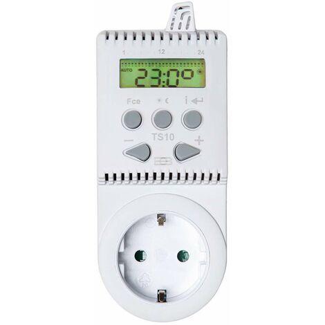 Termostato para enchufe TS10 - termostato para calefacción, termostato digital para control de temperatura, regulador de temperatura automática - blanco