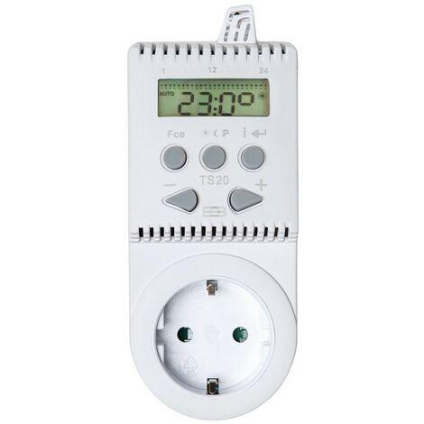 Termostato para enchufe TS20 - termostato para calefacción, termostato digital para control de temperatura, regulador de temperatura automática - blanco