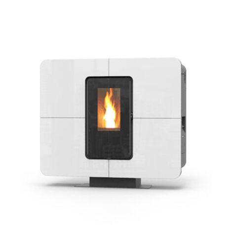 Termostufa a pellet Thermorossi SlimQuadro Idra cristallo bianco 14.3 kW