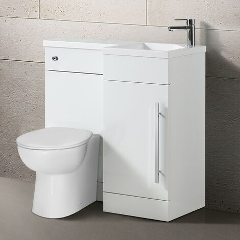 Teroslo 900mm Modern Right Hand Bathroom White Vanity Basin Back To Wall Toilet