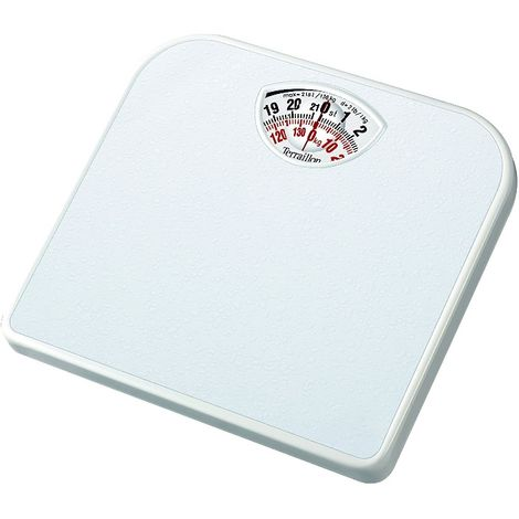 Terraillon Mechanical Bathroom Scale - Large rotating dial - Compact - White