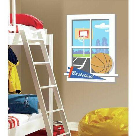 TERRAIN BASKETBALL - Stickers repositionnables fenêtre donnant sur un terrain de basketball effet trompe l'oeil 102x69 - Multicolore
