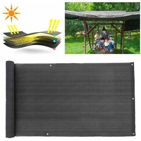 Terrasse balcon écran de confidentialité écran HDPE cl?ture de jardin pare-soleil panneau mural 4M- 90x400cm (noir, 90X400CM)