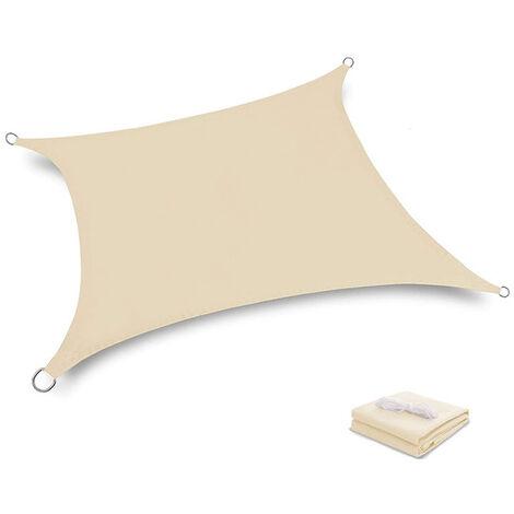 Terrasse Terrasse 2x2M Voile d'ombrage anti-UV Protection des rayons UV Tissu imperméable Résidérant Aux Intempéries Pour Terrasses Piscines, Creamy-Blanc