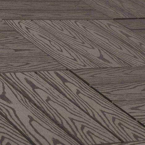 terrasse WPC carrelage imitation bois, revêtement de sol avec système de clic, 11 pièce café