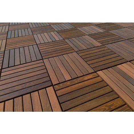 Terrassen Fliesen | Thermo Esche | Steck System | Natur Holz | 33x33cm | THF-1