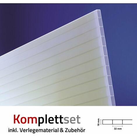 Terrassendach Terrassenüberdachung Carport Komplettset Acrylglas 16/32 Opal-Weiß Sunstop Stegplatten