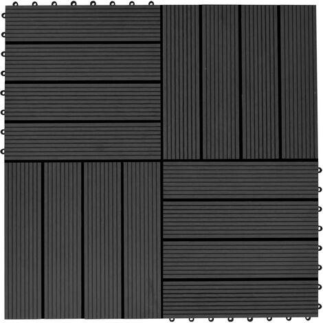 Terrassenfliesen 11 Stück WPC 30 x 30 cm 1 qm Schwarz