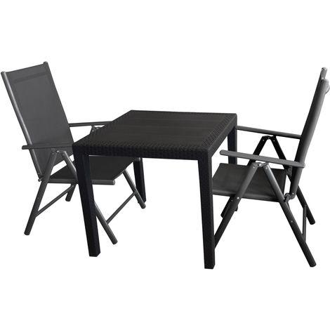 terrassengarnitur kunststoff gartentisch mit rattan look. Black Bedroom Furniture Sets. Home Design Ideas