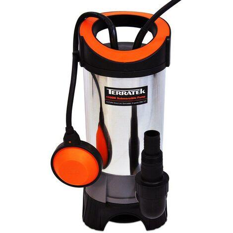 Terratek 1100W TWP1100T Submersible Water Pump, Submersible Dirty Water Pump, Pool Pump, Cellar, Flood And Pond Pump
