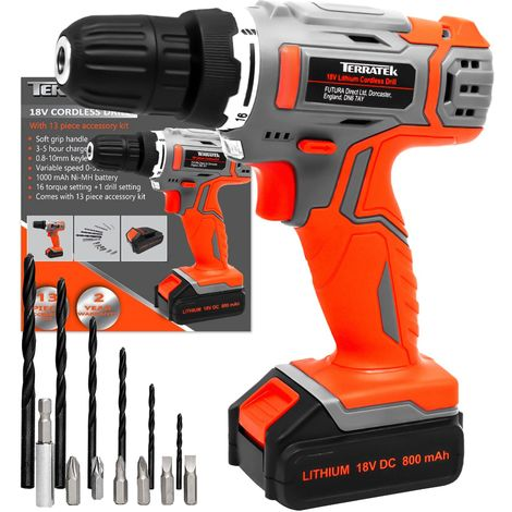 Terratek 13Pc Cordless Drill Driver 18V/20V-Max Lithium-Ion Combi Drill, Electric Screwdriver, Accessory Kit, LED Work Light, Quick Change Battery & Charger Included