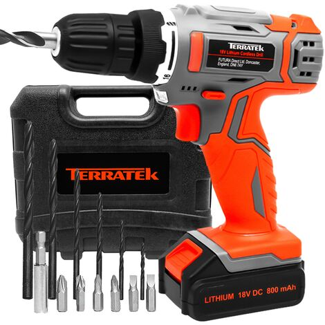 Terratek 13Pc Cordless Drill Driver 18V/20V-Max Lithium-Ion Combi Drill in Carry Case, Electric Screwdriver, Accessory Kit, LED Work Light, Quick Change Battery & Charger Included