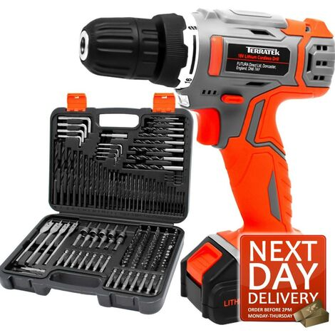 Terratek 163pcs Cordless Drill Driver 18V/20V-Max Lithium-Ion Combi Drill, Electric Screwdriver, Accessory Kit, LED Work Light, Quick Change Battery & Charger Included