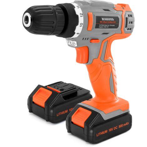 Terratek 18/20V Max Li-ion Cordless Drill with 2 Batteries 13Pc