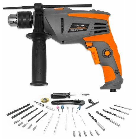 Terratek 35pcs 810W Hammer Drill Power Impact Drill Heavy Duty Variable Speed 1/2-Inch(13 mm) Keyed Chuck