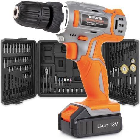 "main image of ""Terratek 89pc 18V/20V Li-ion Cordless Drill Driver Combi Drill Electric Screwdriver 2 Batteries & Storage Case"""