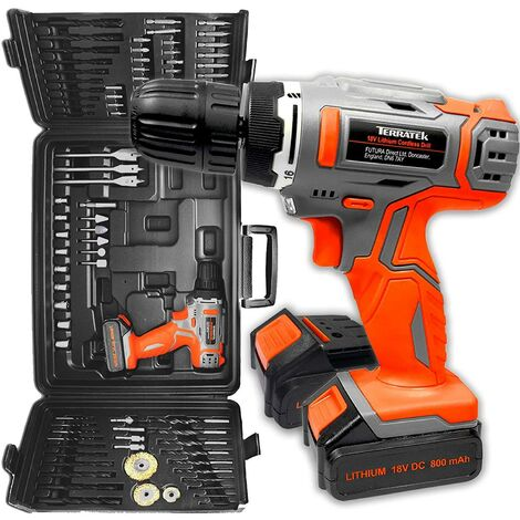 Terratek 89Pc Cordless Drill Driver 2 Batteries -18V/20V-Max Li-Ion Combi Drill in Carry Case, Electric Screwdriver