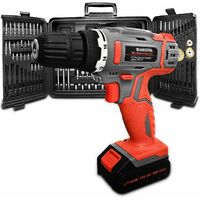 Terratek 89pc Cordless Drill Driver Kit, 18V/20V-Max Lithium-Ion Electric Screwdriver Complete with 89pc Tool & Accessory Set, Combi Drill, Variable Speed, Carry Case, 16 Torque Settings