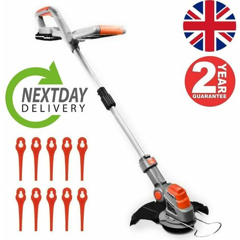 Terratek Cordless Strimmer 18V/20V-Max Lithium-Ion, Telescopic Lightweight Powerful Grass Trimmer, 25cm Cutting Diameter, Battery, Charger & Quick Change Spare Blades Included,Grass Edger Lawn Cutter
