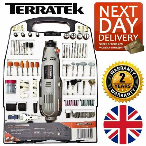 Terratek Rotary Multi Tool Kit 135W with 234pc Accessory Set & Storage Case, Variable Speed 8000-33000rpm, Ideal for DIY, Woodwork & Hobby Craft, Dremel Compatible