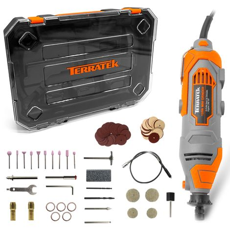 Terratek Rotary Multi Tool Kit 135W with 80pc Accessory Set & Storage Case, Variable Speed 8000-33000rpm, Ideal for DIY, Woodwork & Hobby Craft, Dremel Compatible (Rotary Tool in Case)
