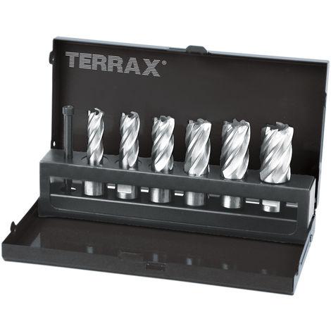 TERRAX A108820 - Juego brocas huecas vástago Weldon 19 mm de 7 piezas (6 brocas huecas + 1 guía-expulsor)