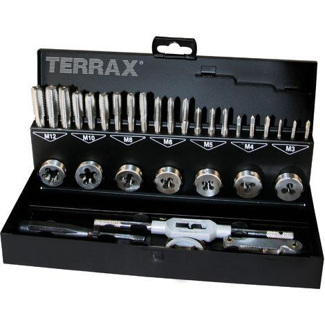 TERRAX A245013 - Juego herramientas de roscar 31 piezas - Estuche metálico