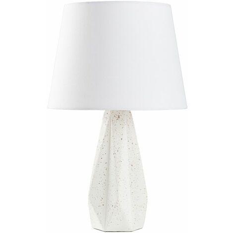 Terrazzo Effect Geometric Style Table Lamp + White Shade