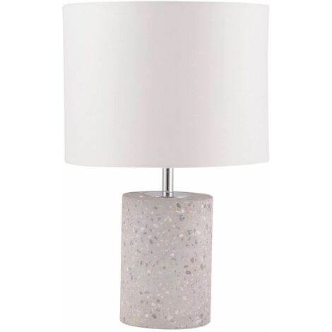 Terrazzo Grey Concrete 32cm Bedside Light Table Lamp White or Grey Fabric Shade
