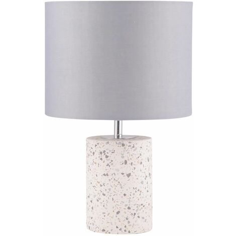 Terrazzo White Concrete 32cm Bedside Light Table Lamp with Grey Fabric Shade